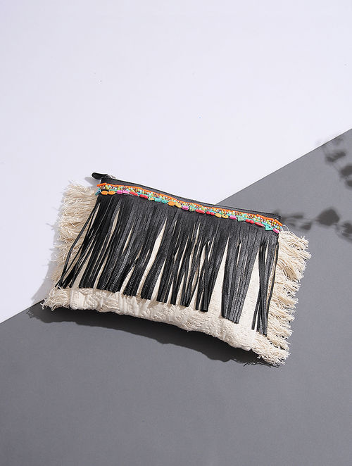 Off White-Black Handcrafted Leather Clutch with Beads Embellishments and Fringes