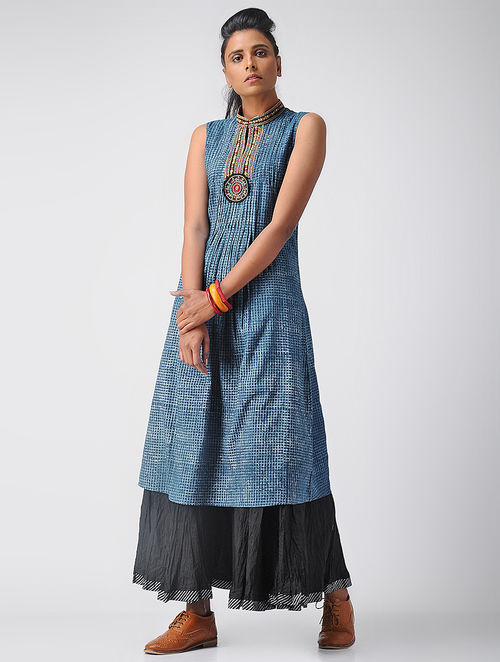 Indigo-Ivory Embroidered Dabu Cotton Kurta with Pleats by Jaypore