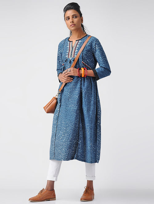 Indigo-Ivory Embroidered Dabu Cotton Kurta with Tassels by Jaypore