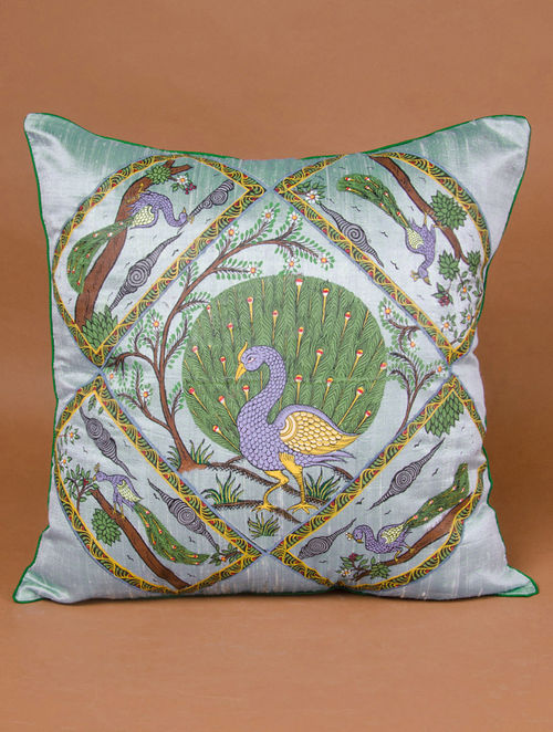 Buy Pure Raw Silk Cushion Covers With Pattachitra Peacocks 40in X Enchanting Raw Silk Pillow Covers