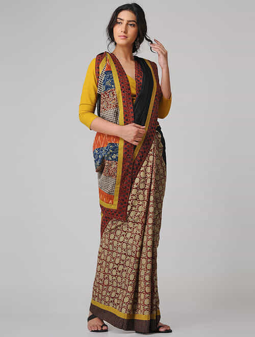 Beige-Black Block-printed Constructed Cotton Saree with Chanderi Pallu