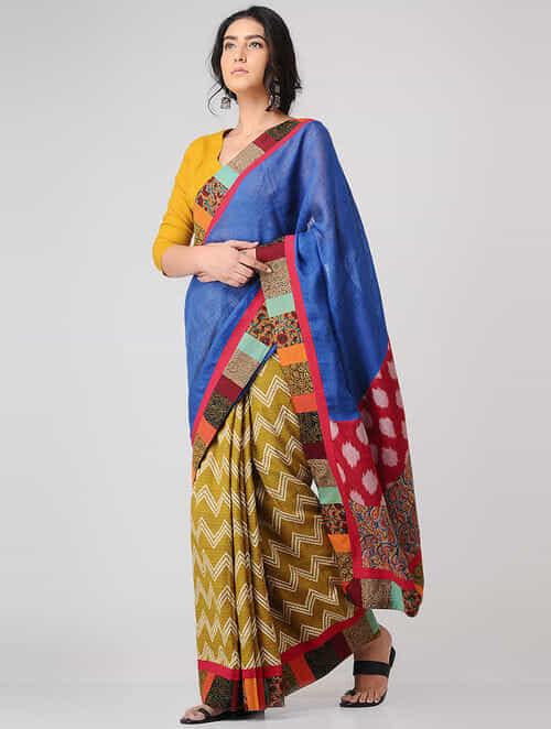 Blue-Ochre Block-printed Constructed Cotton Saree with Linen Pallu