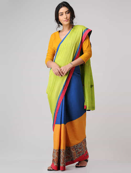 Green-Blue Block-printed Constructed Cotton Saree