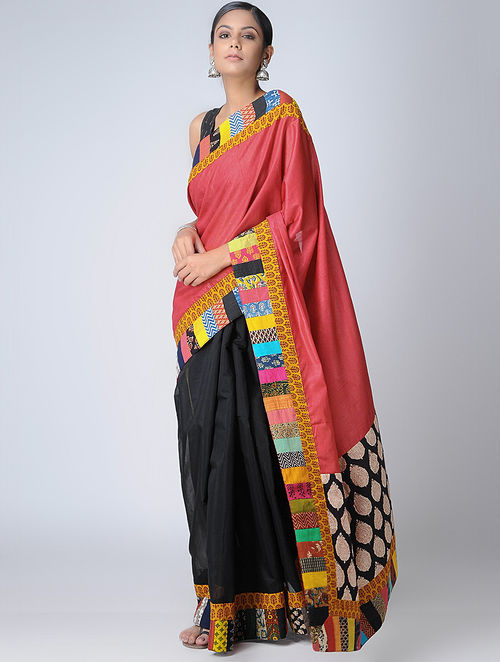 a689278b9519e2 Pink-Black Block-printed Constructed Cotton Saree with Cotton Silk Pallu