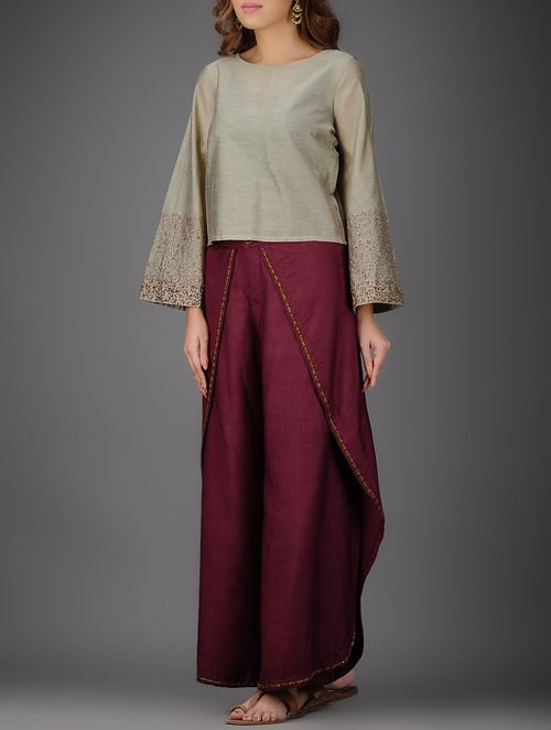 Grey-Burgundy Chanderi Top with Printed and Embroidered Sleeves