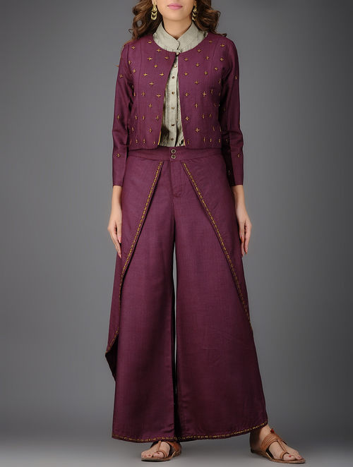 Burgundy Embroidered Cotton Silk Jacket