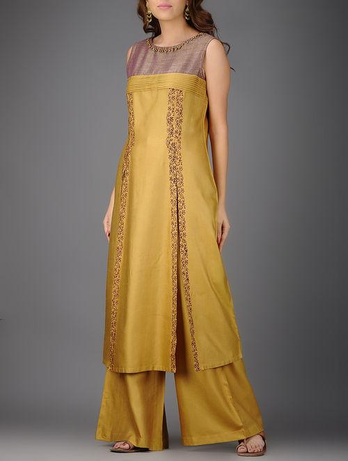 Mustard-Mauve Printed Pleated Cotton Silk Kurta