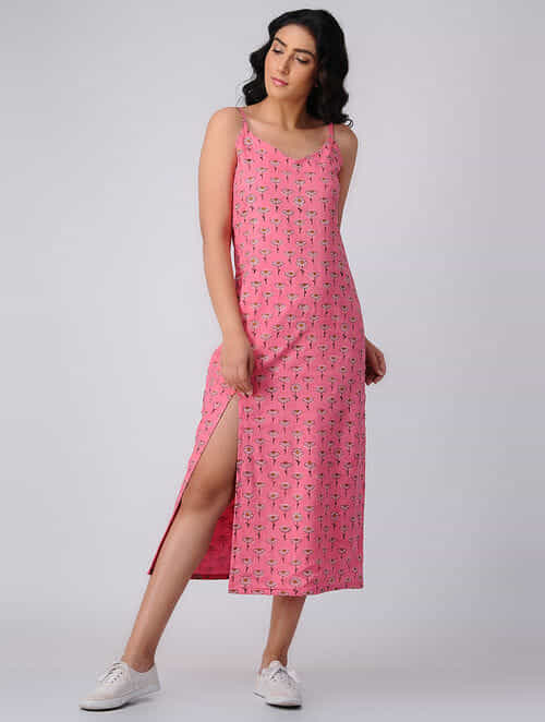 4e08ae3727d Buy Pink Block-printed Cotton Maxi Dress with Slit Online at Jaypore ...