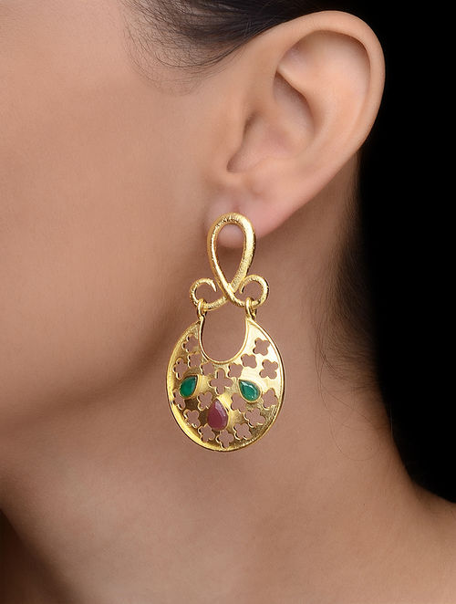 Red-Green Gold-plated Earrings