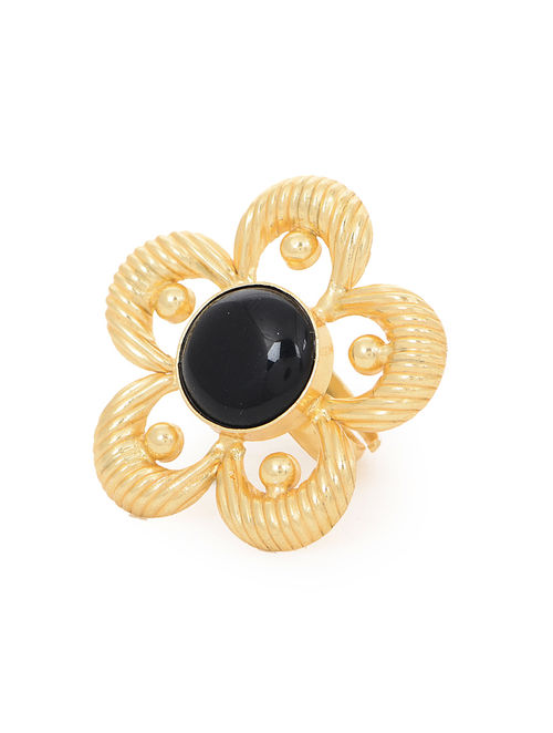 Black Gold Tone Adjustable Ring