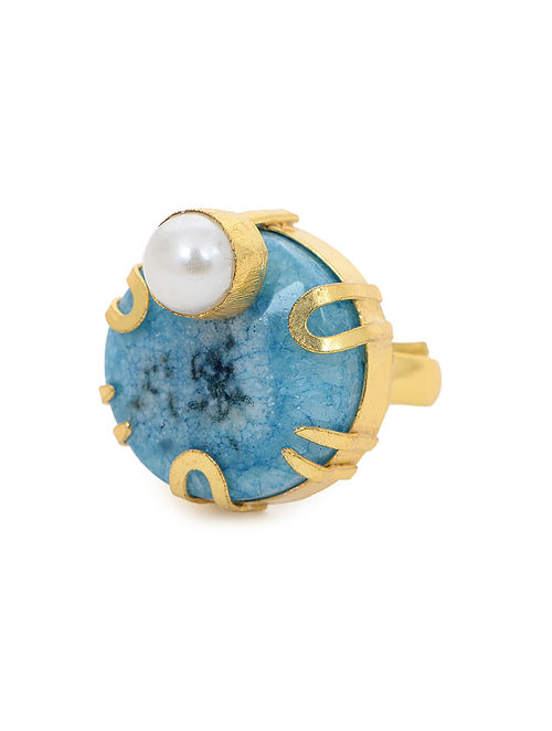 Blue Gold Tone Adjustable Ring