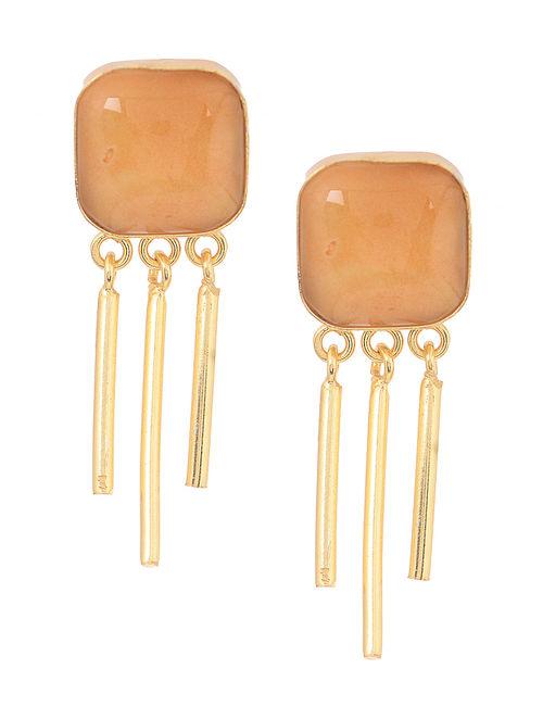 Orange Gold Tone Earrings
