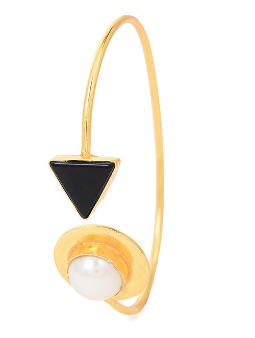 Black Gold Tone Cuff with Pearl