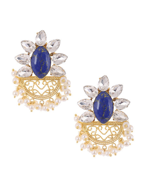 Blue Gold Tone Glass Crystal Earrings