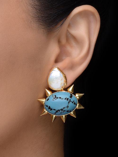 White-Turquoise Gold Tone Earrings
