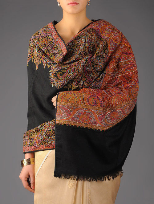 Vibrant Kashmir 1840s Jamawar Hand Woven Pashmina Shawl by Aditi Collection