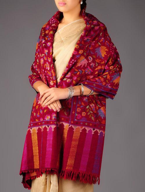 Pashmina Dorukha Kani Hand Woven Floral Design Shawl by Aditi Collection