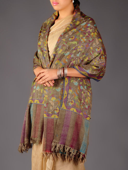 Pashmina Dorukha Kani Hand Woven Paisley Floral Shawl by Aditi Collection