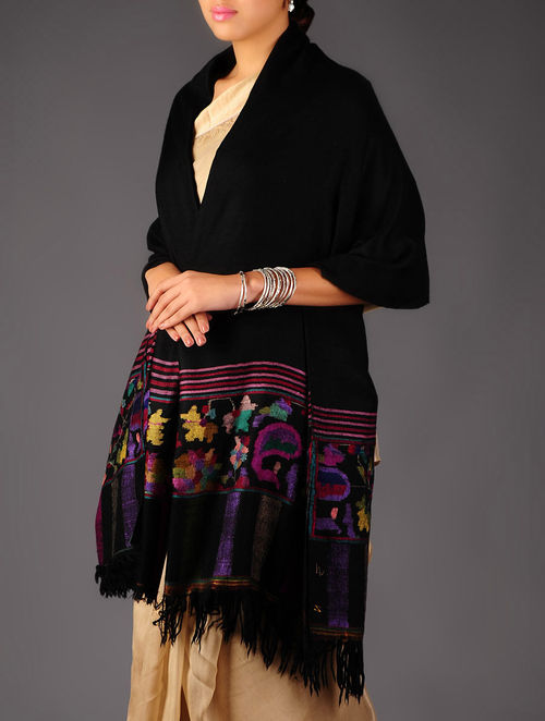Pashmina Dorukha Kani Hand Woven Black Border Shawl by Aditi Collection