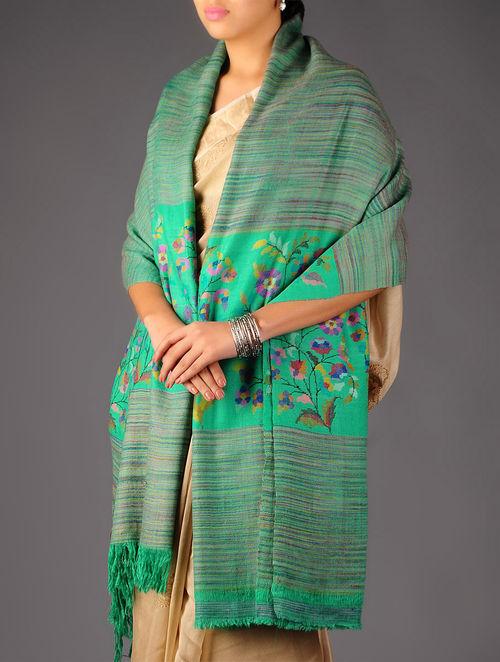 Superb Pashmina Dorukha Kani Hand Woven Mughal Boota Border Shawl by Aditi Collection