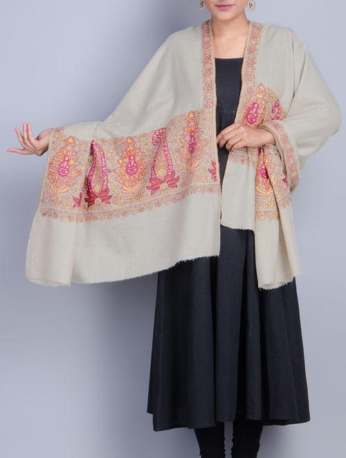 Buy Cream Kashmiri Pashmina Hand Woven Fine Paper Mache