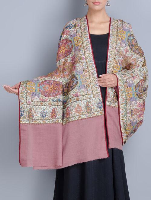 Buy Cream Old Rose Fine Kashmir Wool Dorukha Design Hand Embroidery