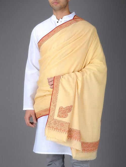 Buy Deep Cream Vintage Dorukha Silk Hand Embroidery