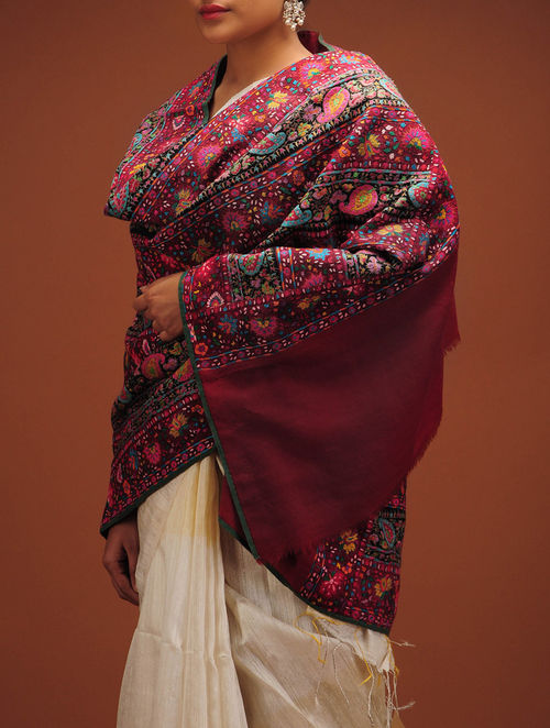 Buy Beautiful Hand Embroidered Borders Shawl In Kashmir