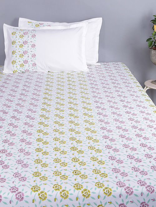 Purple-Mustard Block-printed Glace Cotton Double Bedsheet with Pillow Covers (Set of 3)