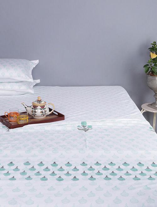 Green-White Block-printed Cotton Single Dohar (Set of 2)