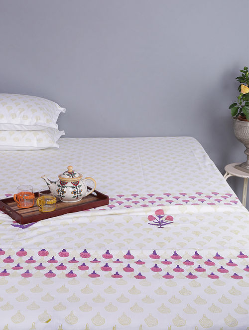 Purple-White Block-printed Cotton Single Dohar (Set of 2)