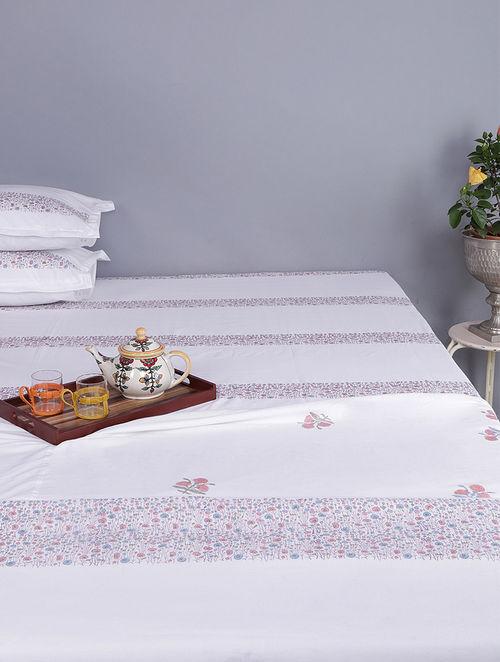 White-Multicolored Block-printed Cotton Single Dohar (Set of 2)