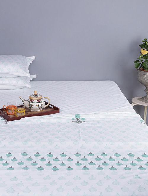 Green-White Block-printed Cotton Reversible Double Dohar