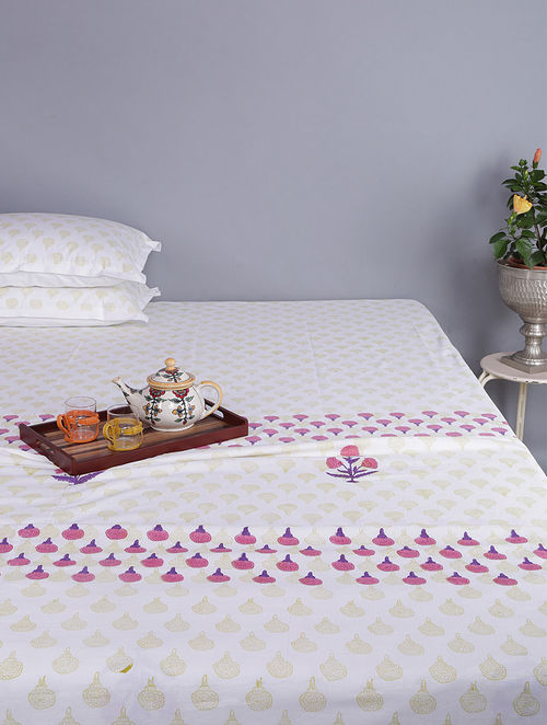 Purple-White Block-printed Cotton Reversible Double Dohar