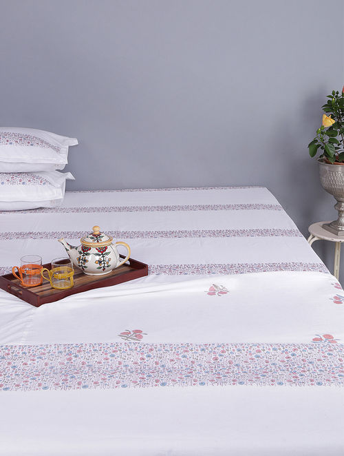 White-Multicolored Block-printed Cotton Reversible Double Dohar