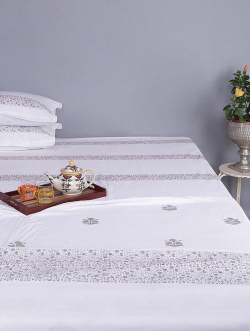 White-Grey Block-printed Cotton Reversible Double Dohar