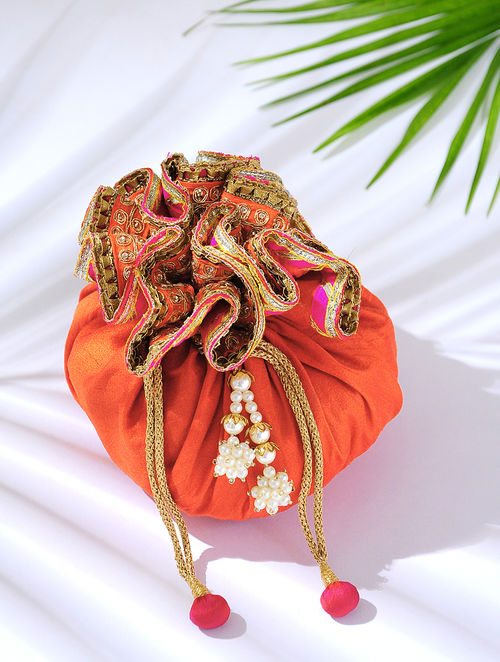 Red Handcrafted Potli with Latkans