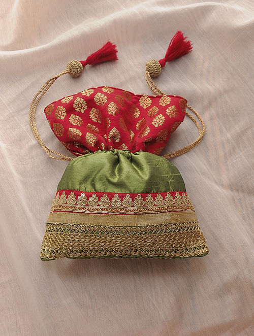 Green-Red Hand-Crafted Embellished Croma Silk Potli with Latkans