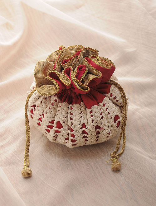 Pink-White Hand-Crafted Crochet and Croma Silk Potli with Latkans