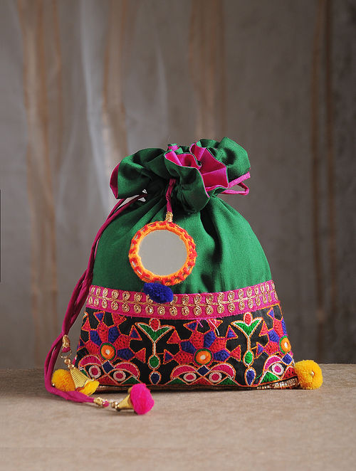 Green Hand-Embroidered Chroma Silk Potli with Mirror Embellishments and Tassels