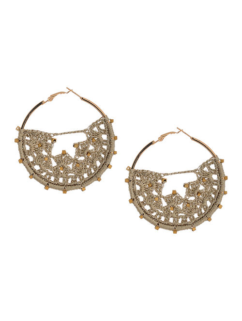 Beige Thread Earrings with Crochet Work