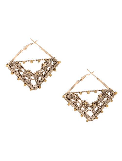 Golden Zari Thread Earrings with Crochet Work