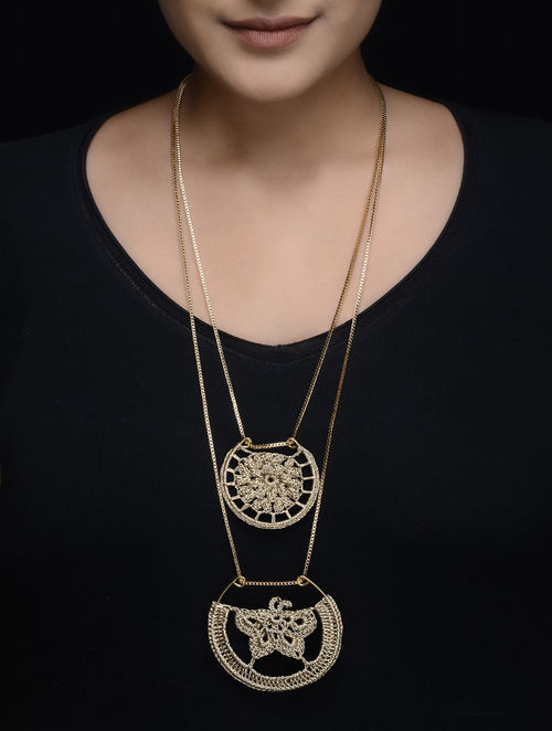 Golden Zari Thread Necklace with Crochet Work
