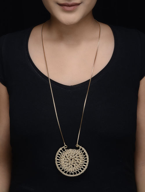 Golden Zari Thread Necklace with Crochet Work