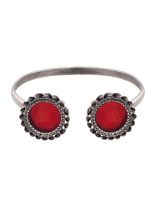 Red Glass Tribal Silver Cuff