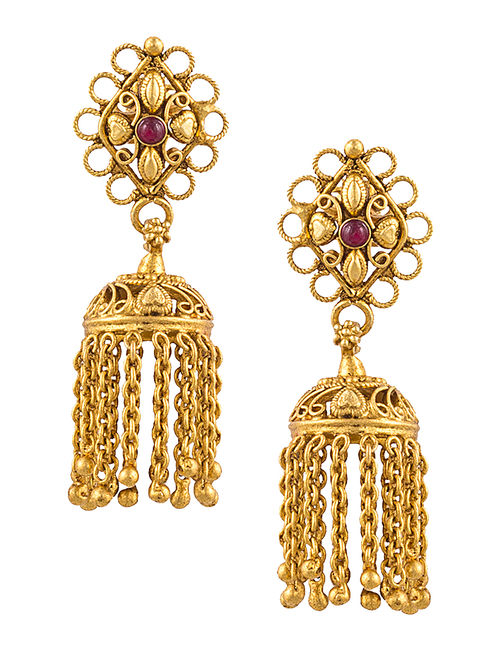 Ruby Gold-plated Silver Jhumkis