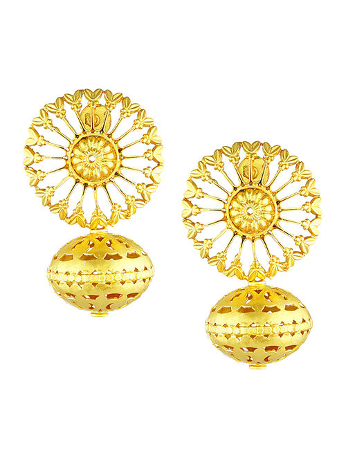 Gold-plated Silver Earrings with Cutwork
