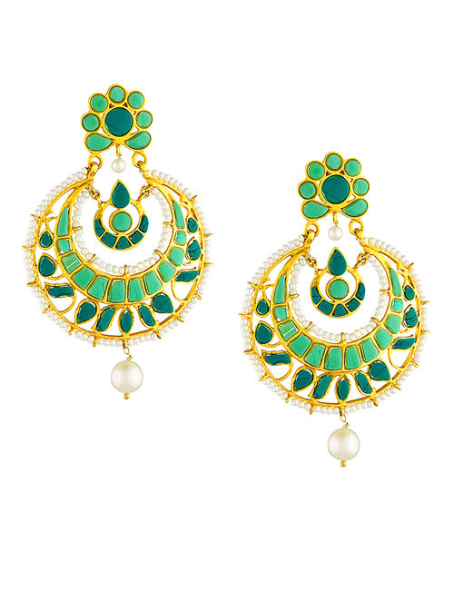 Turquoise Cabochon Gold-plated Silver Earrings with Pearls