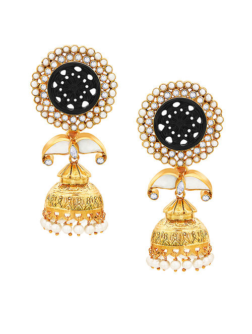 Black Onyx and Mother of Pearl Gold-plated Silver Jhumkis