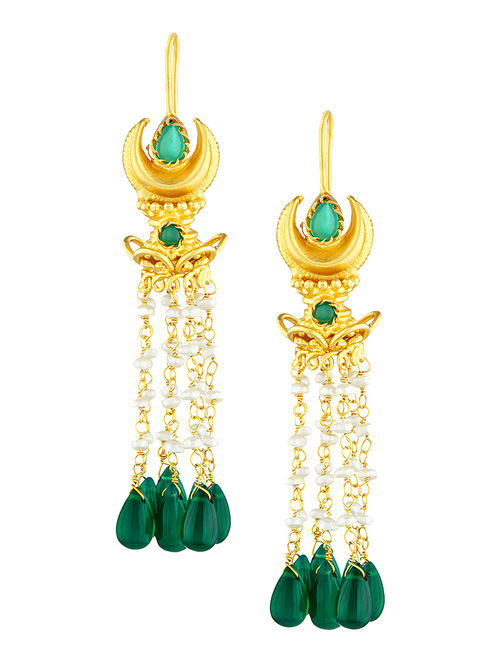 Green Onyx Gold-plated Silver Earrings with Pearls